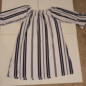 Long dress top blue and white striped